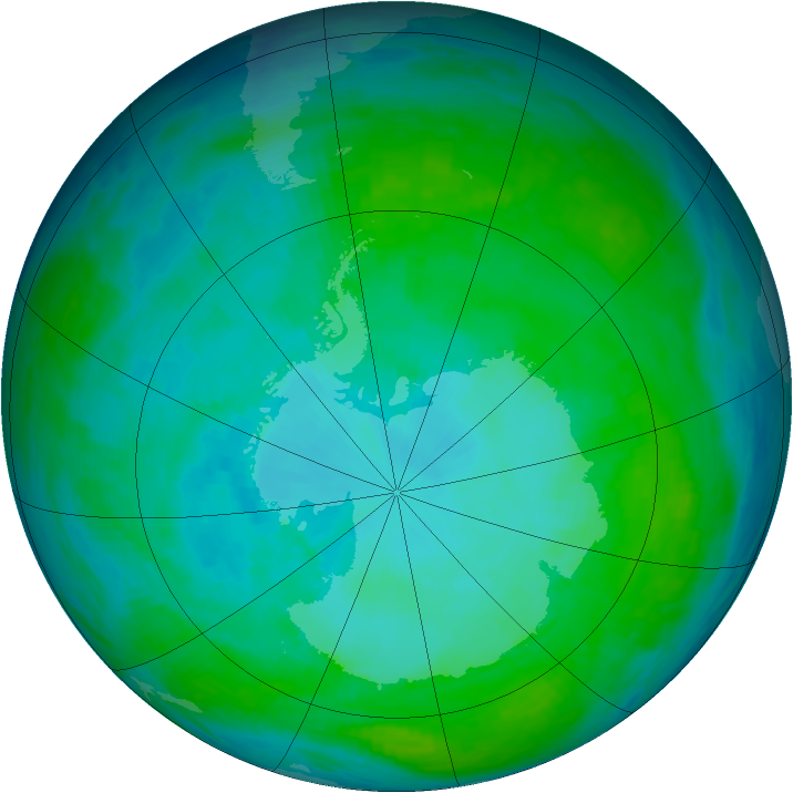 Antarctic ozone map for 15 January 1993