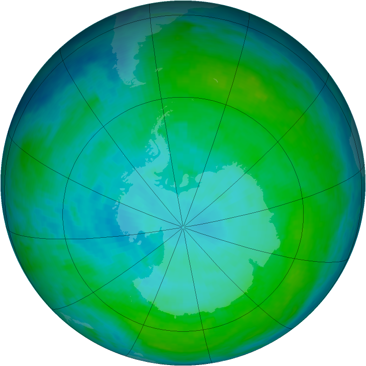 Antarctic ozone map for 17 January 1993