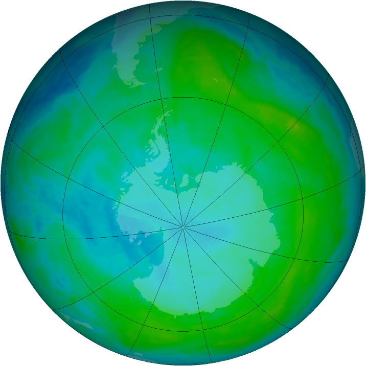 Antarctic ozone map for 18 January 1993