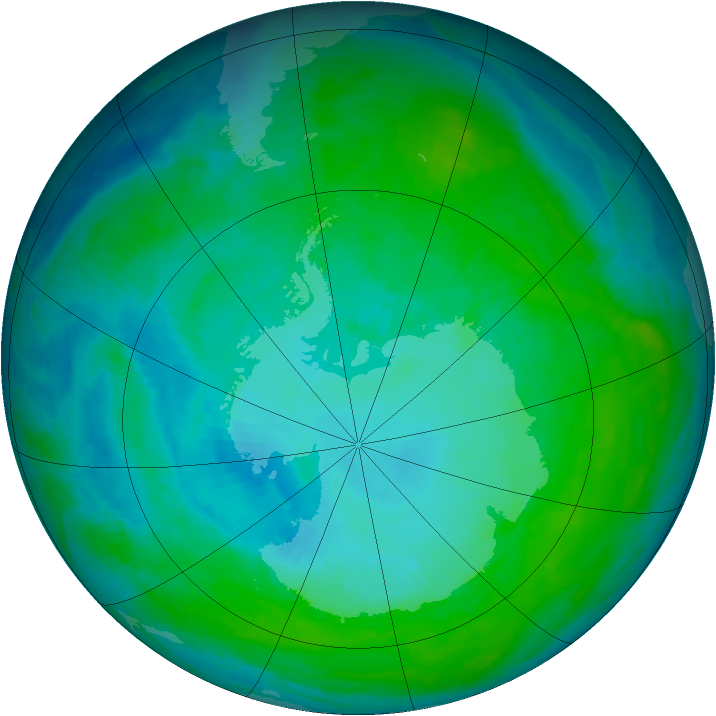 Antarctic ozone map for 19 January 1993
