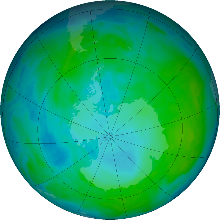 Antarctic ozone map for 22 January 1993