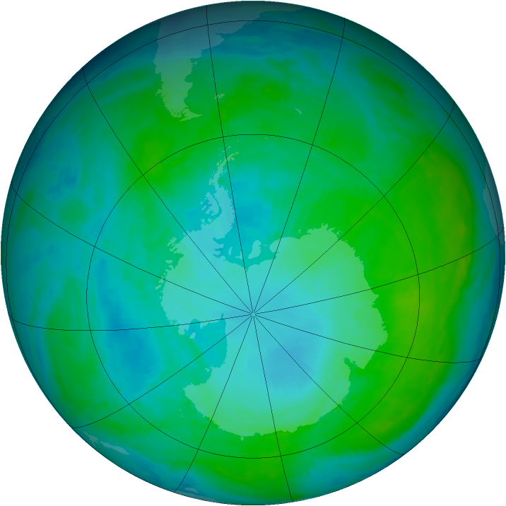 Antarctic ozone map for 23 January 1993