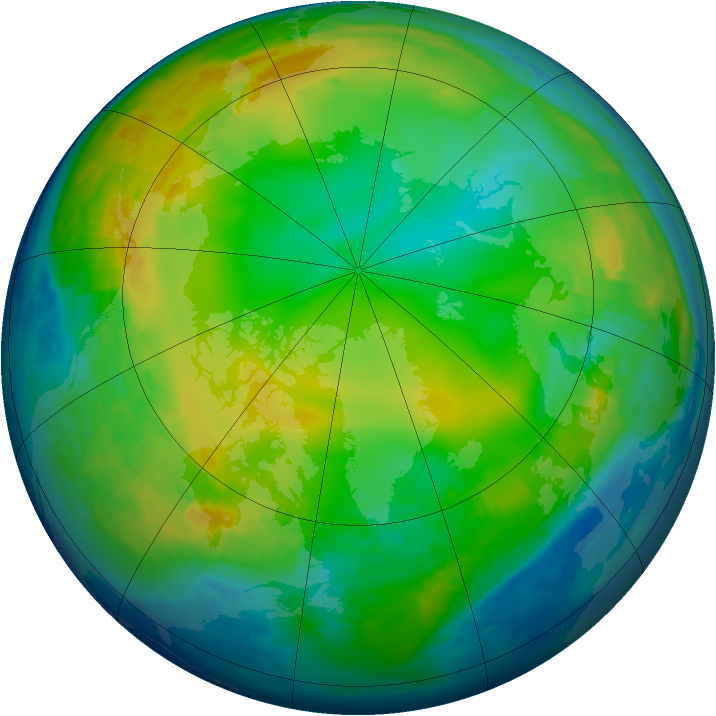 Arctic ozone map for 24 January 1993