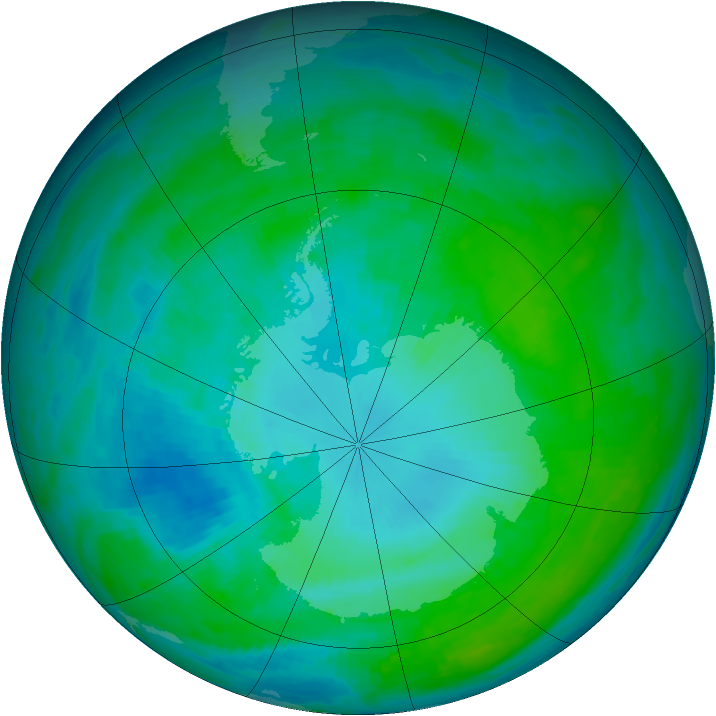Antarctic ozone map for 26 January 1993