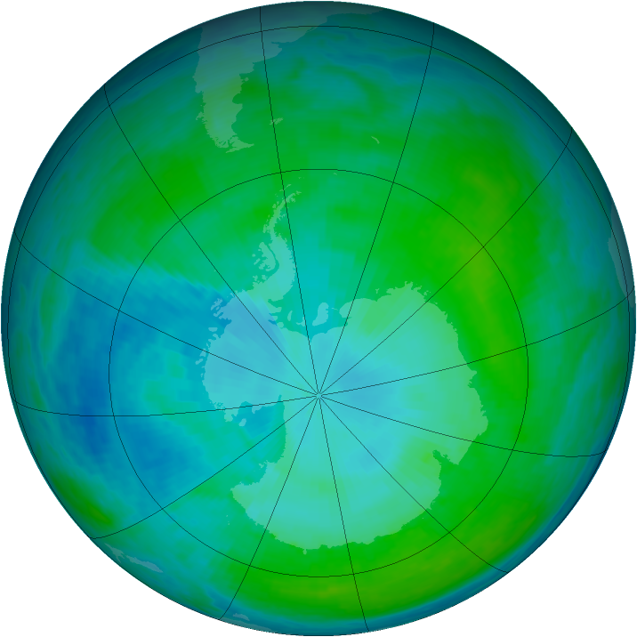 Antarctic ozone map for 28 January 1993