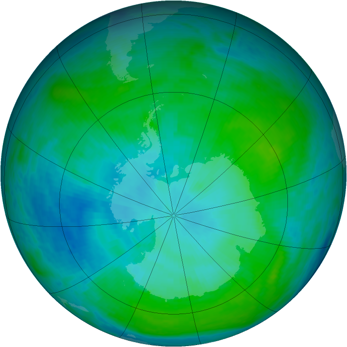Antarctic ozone map for 29 January 1993
