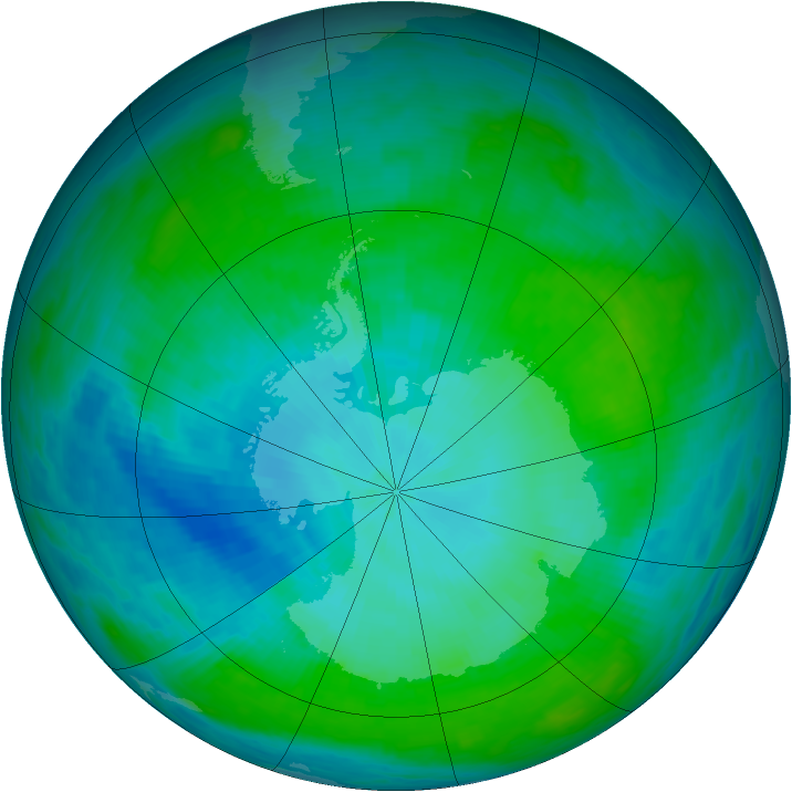 Antarctic ozone map for 30 January 1993