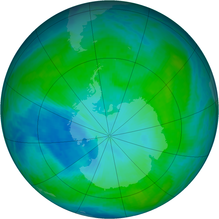 Antarctic ozone map for 01 February 1993