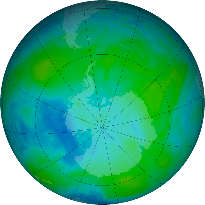 Antarctic ozone map for 02 February 1993