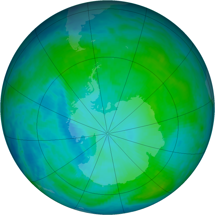 Antarctic ozone map for 04 February 1993