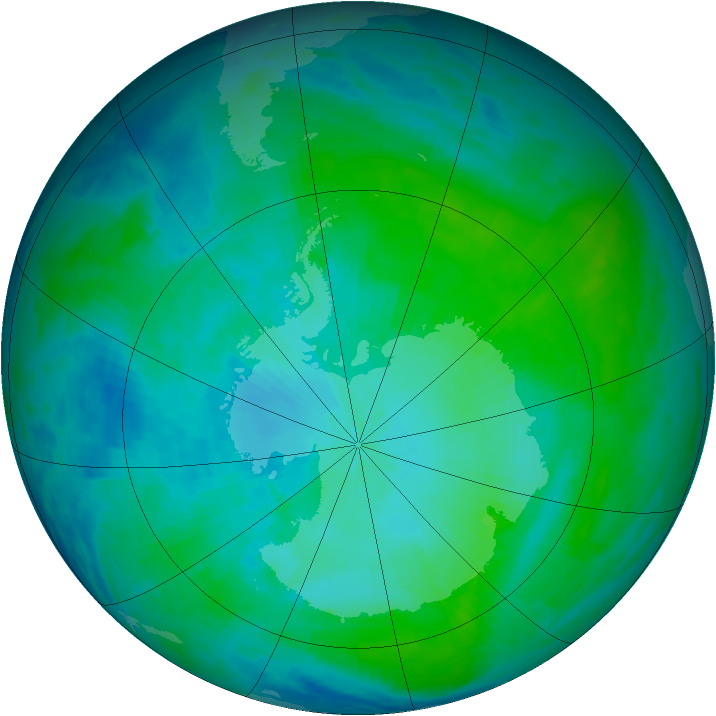 Antarctic ozone map for 06 February 1993