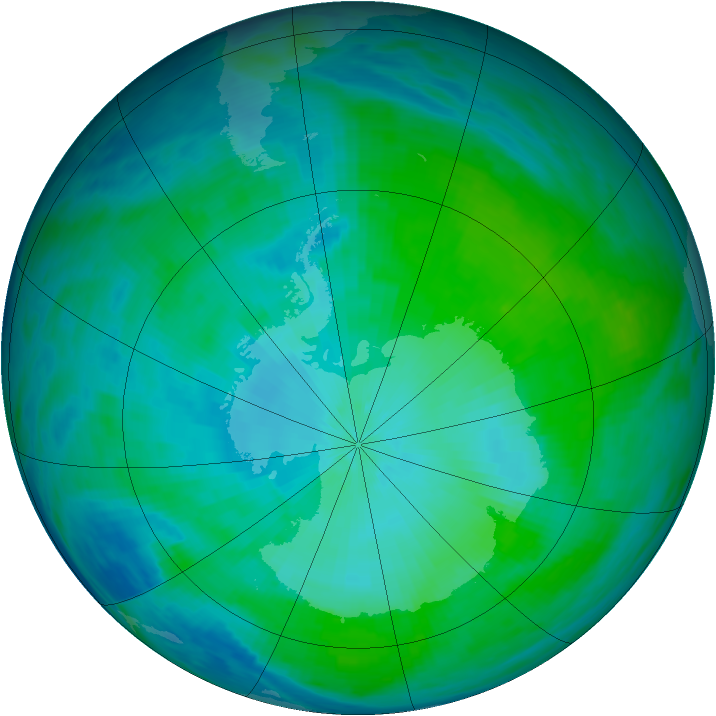 Antarctic ozone map for 07 February 1993