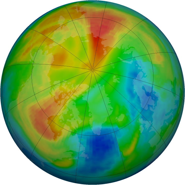 Arctic ozone map for 14 February 1993