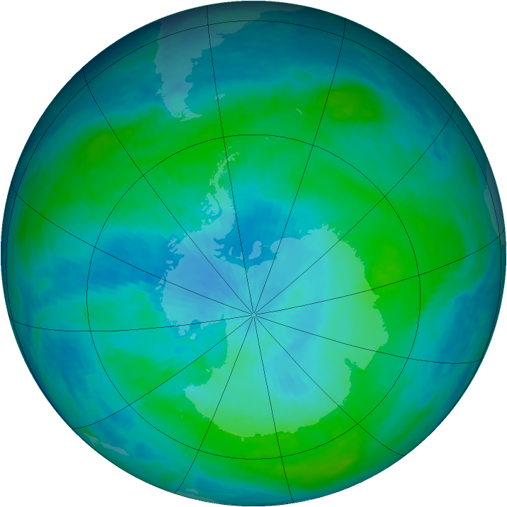 Antarctic ozone map for 16 February 1993