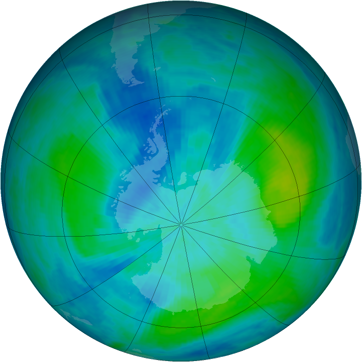 Antarctic ozone map for 01 March 1993