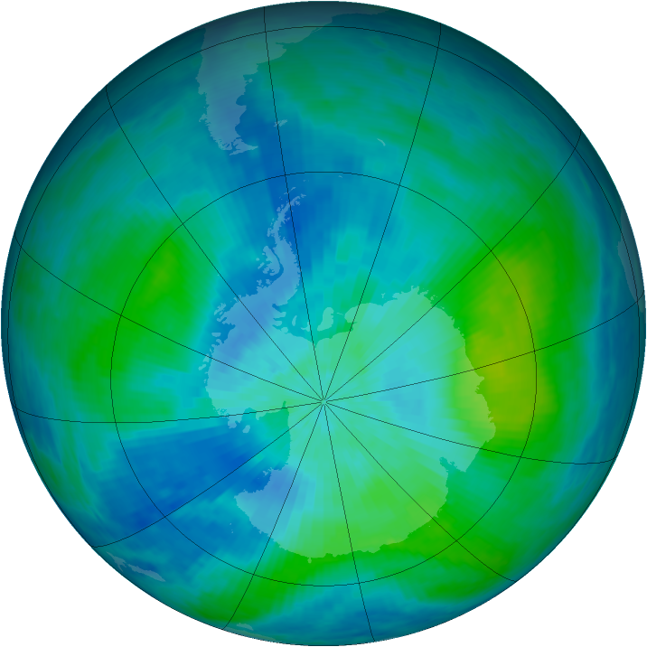 Antarctic ozone map for 02 March 1993