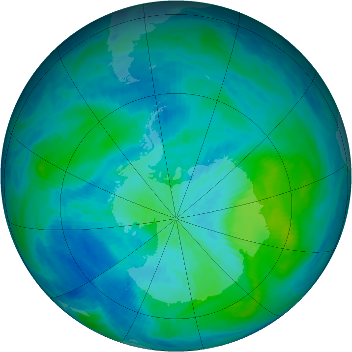Antarctic ozone map for 04 March 1993