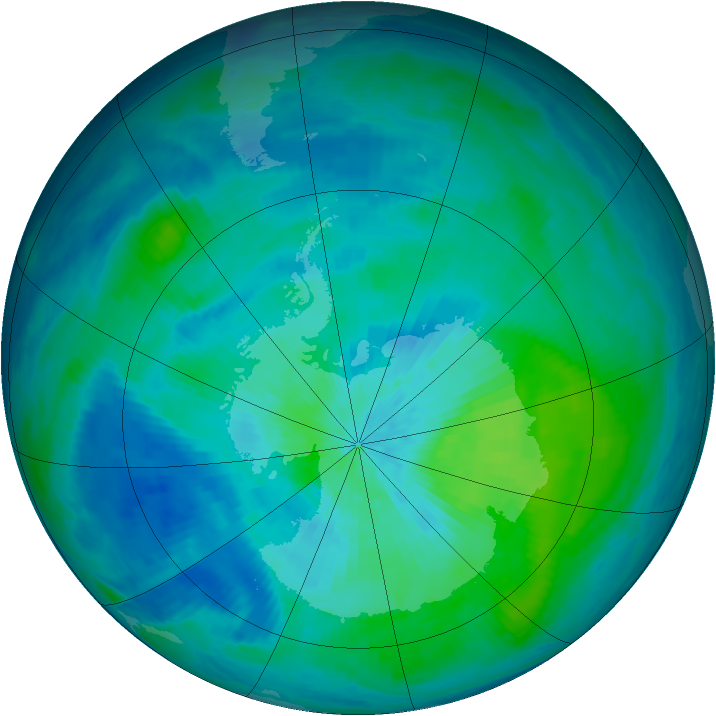 Antarctic ozone map for 05 March 1993