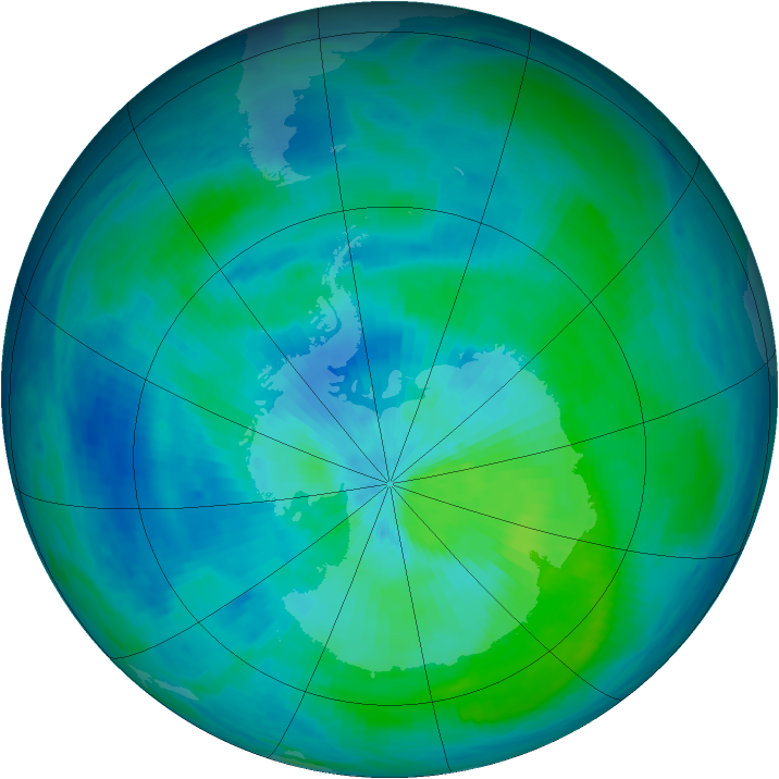 Antarctic ozone map for 07 March 1993