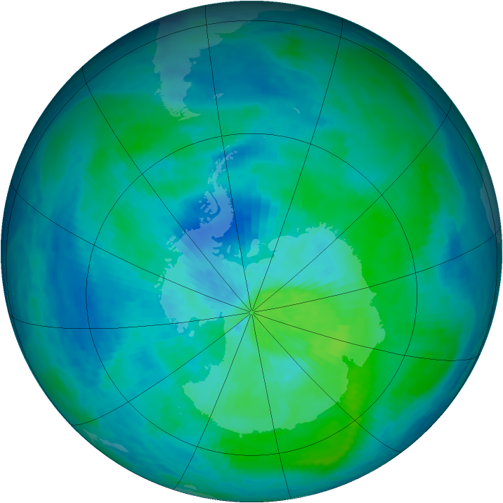 Antarctic ozone map for 08 March 1993