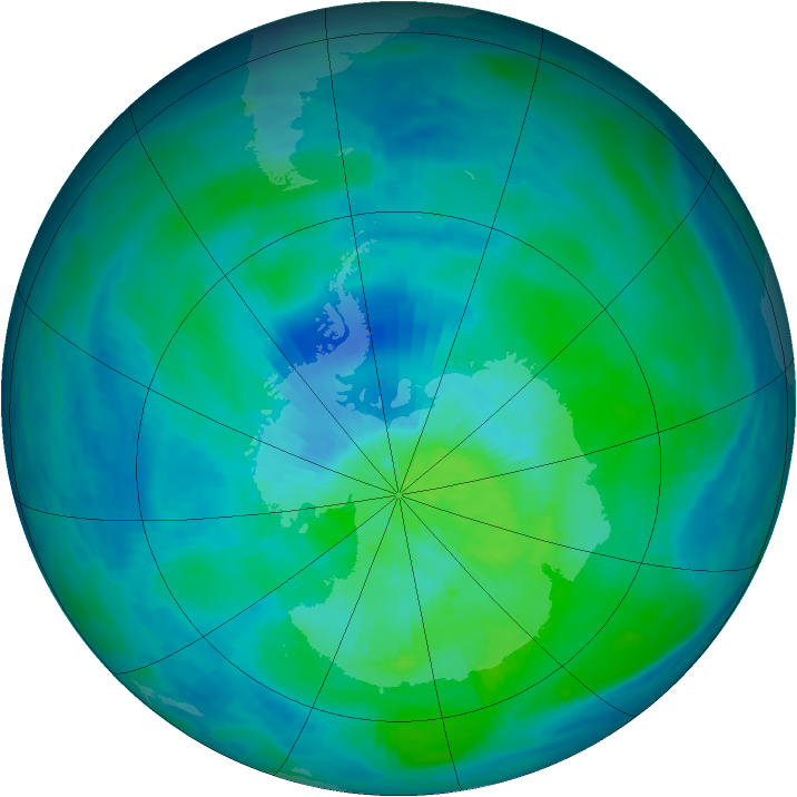 Antarctic ozone map for 09 March 1993