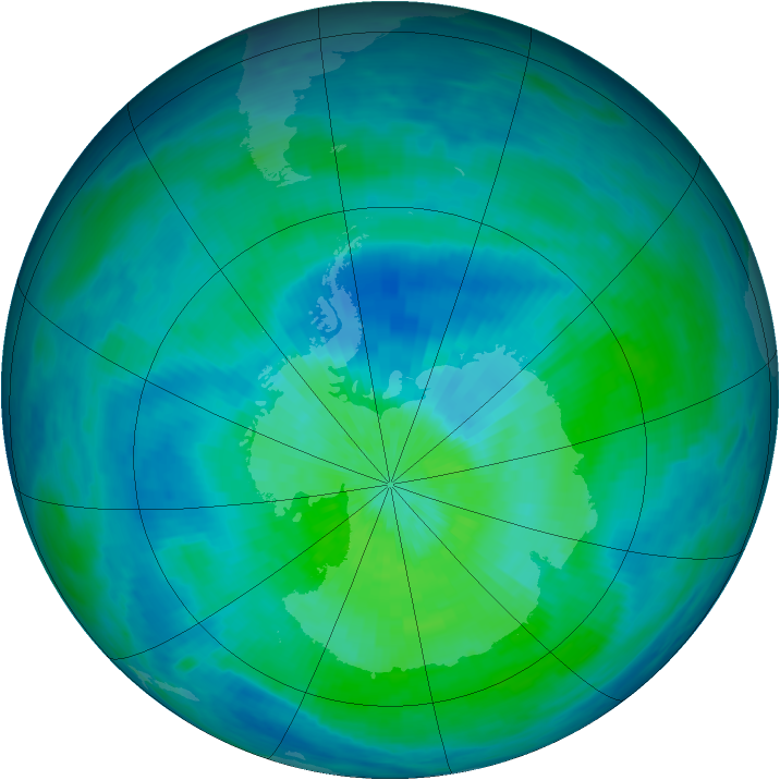 Antarctic ozone map for 12 March 1993