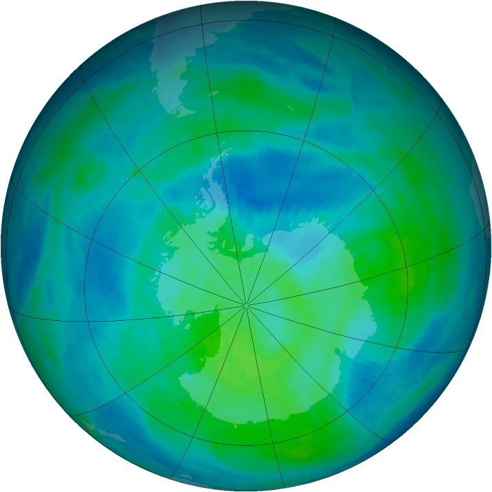 Antarctic ozone map for 13 March 1993