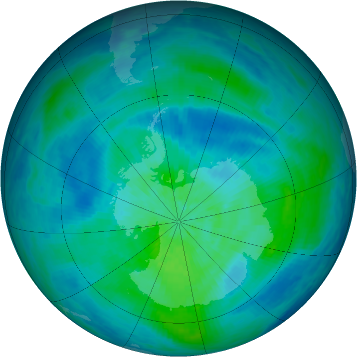 Antarctic ozone map for 14 March 1993