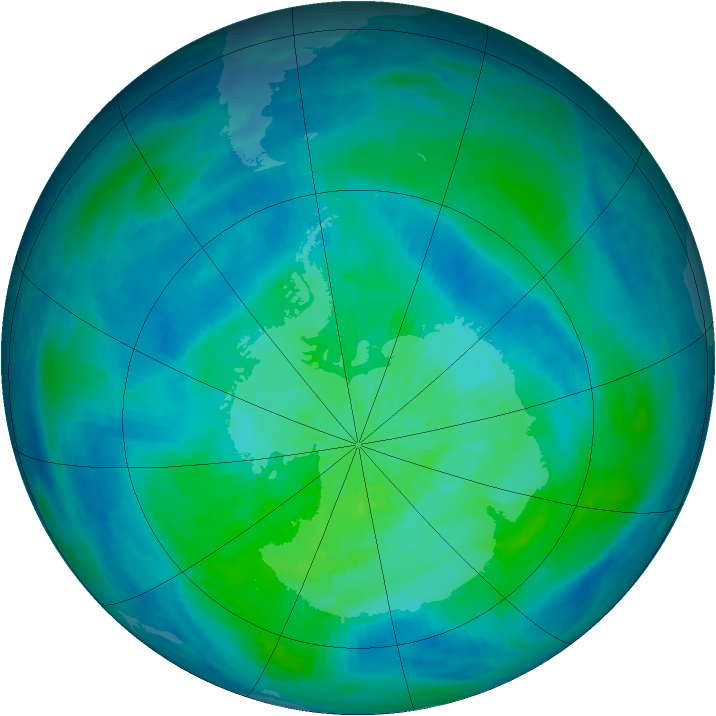 Antarctic ozone map for 16 March 1993