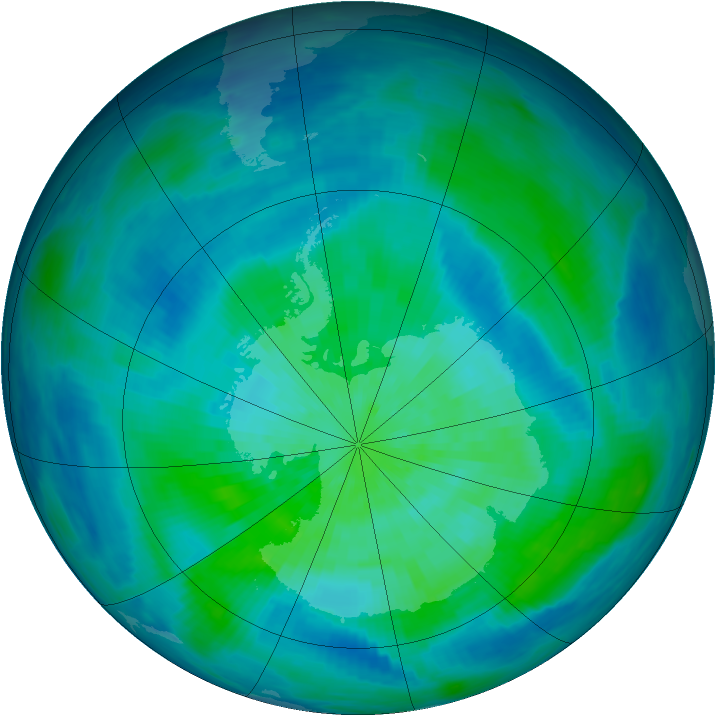 Antarctic ozone map for 17 March 1993