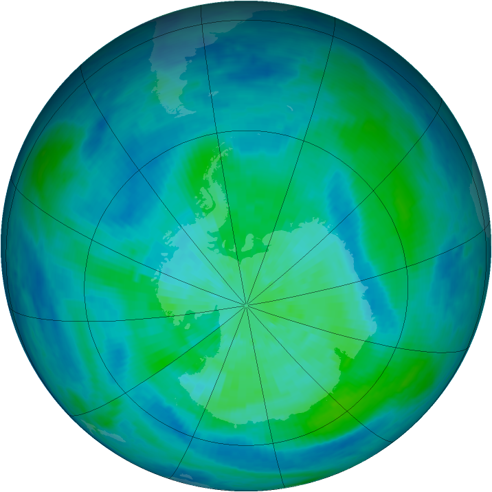 Antarctic ozone map for 18 March 1993