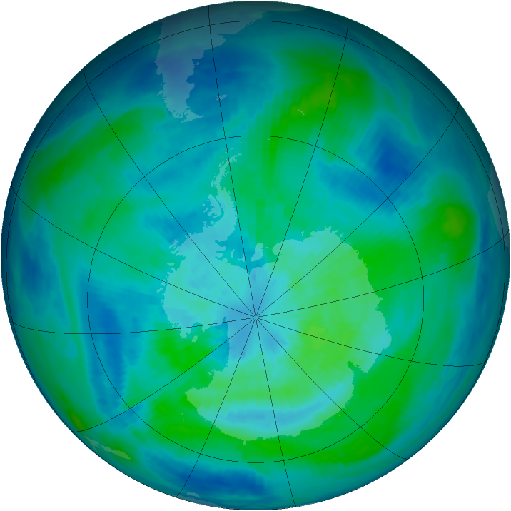Antarctic ozone map for 21 March 1993