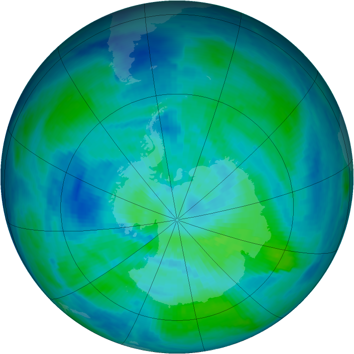Antarctic ozone map for 23 March 1993
