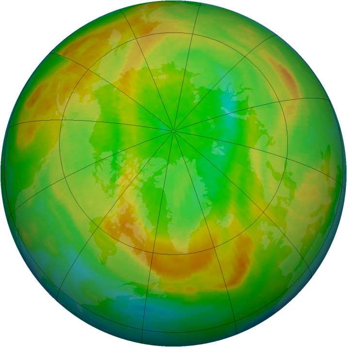 Arctic ozone map for 29 March 1993