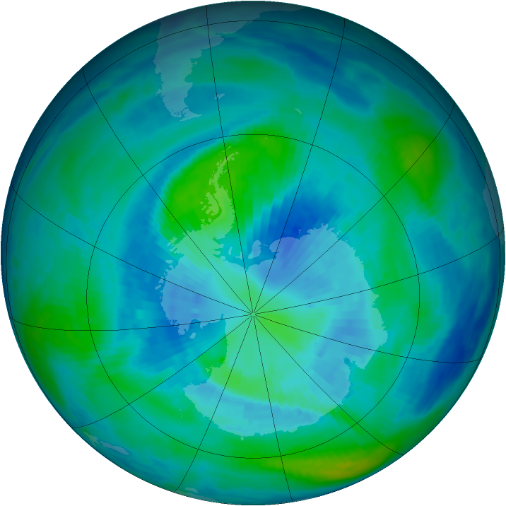 Antarctic ozone map for 29 March 1993
