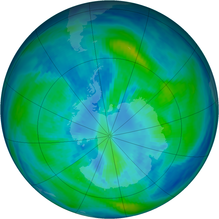 Antarctic ozone map for 03 April 1993
