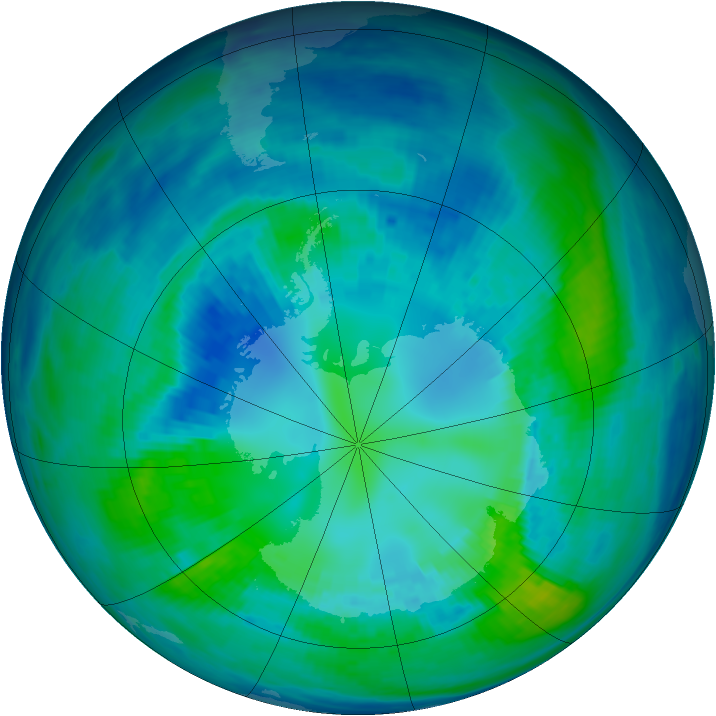 Antarctic ozone map for 19 April 1993