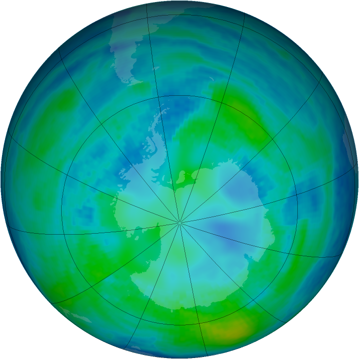 Antarctic ozone map for 22 April 1993