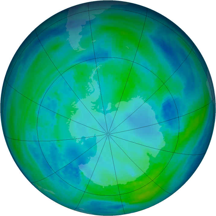 Antarctic ozone map for 28 April 1993