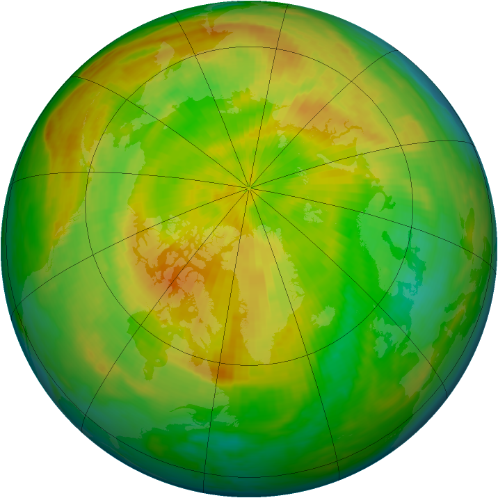 Arctic ozone map for 29 April 1993