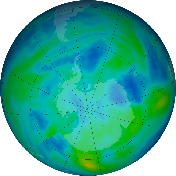 Antarctic ozone map for 30 April 1993