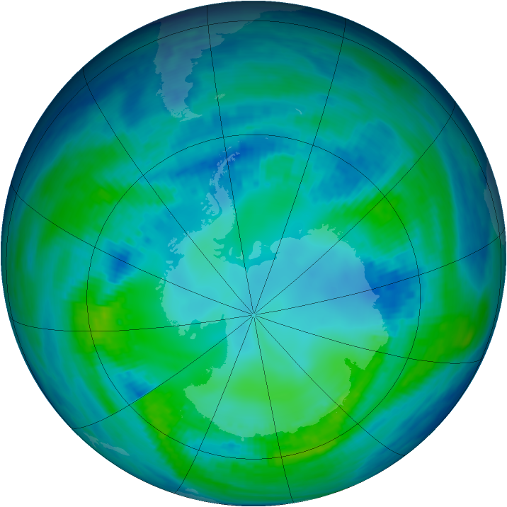 Antarctic ozone map for 01 May 1993