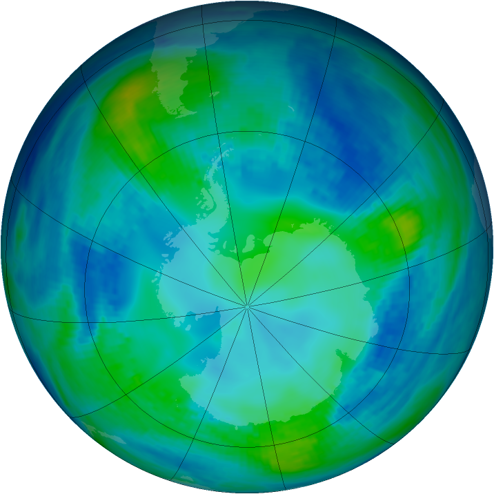 Antarctic ozone map for 06 May 1993