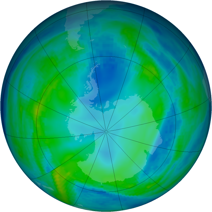 Antarctic ozone map for 15 May 1993