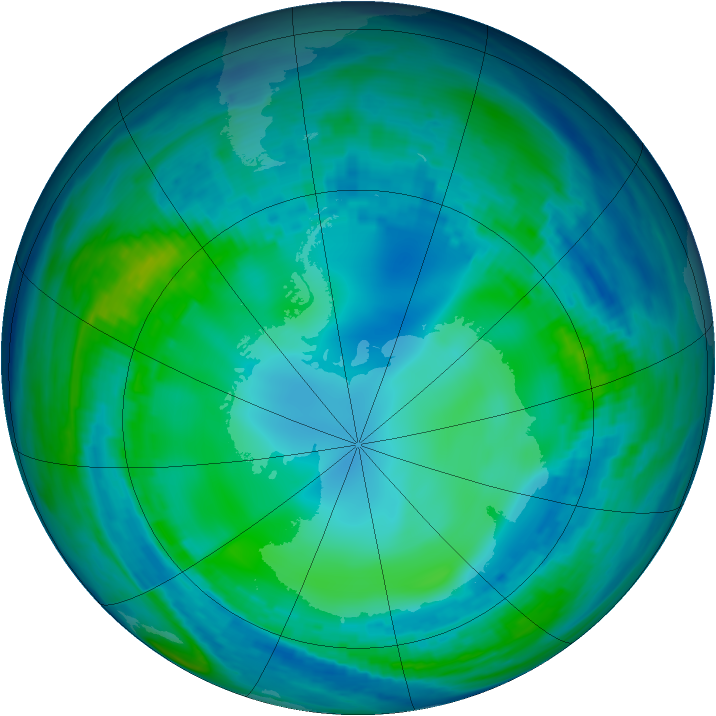 Antarctic ozone map for 16 May 1993