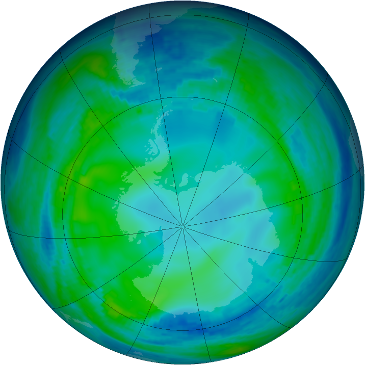 Antarctic ozone map for 19 May 1993