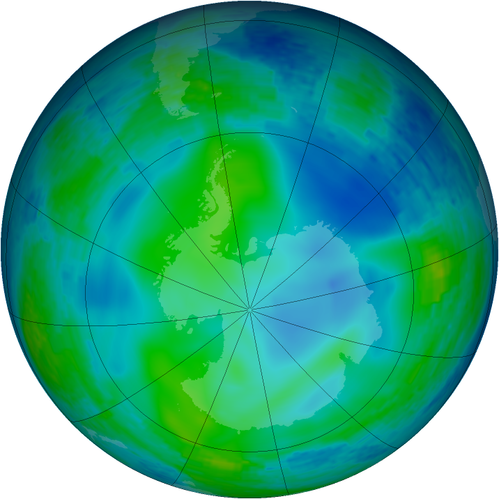 Antarctic ozone map for 30 May 1993