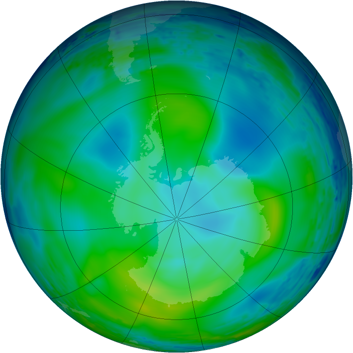 Antarctic ozone map for 05 June 1993