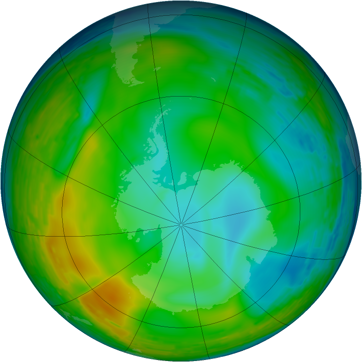Antarctic ozone map for 20 July 1993