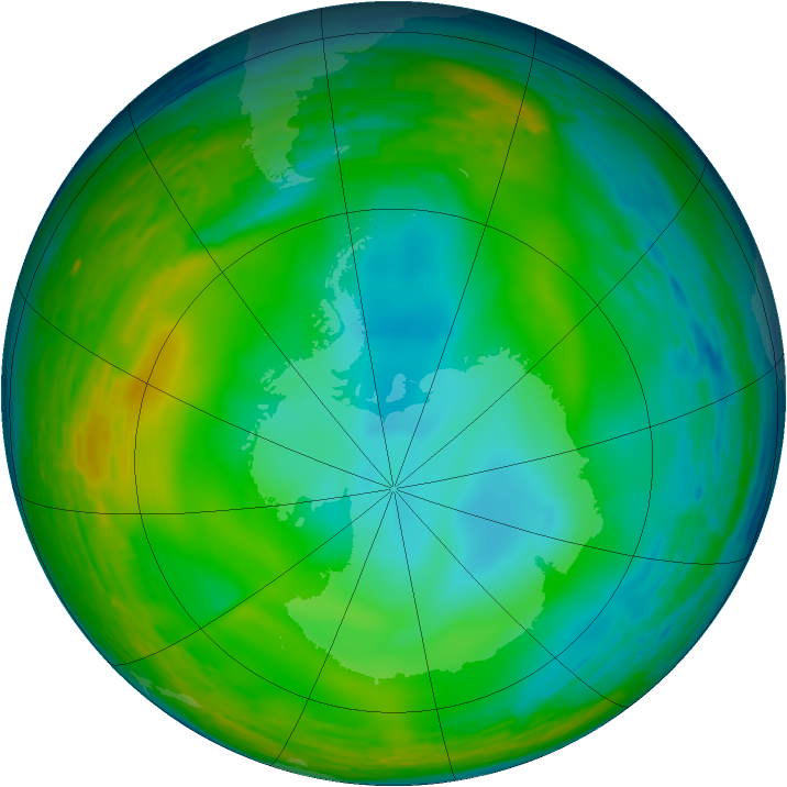 Antarctic ozone map for 21 July 1993